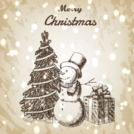 tall hat: Christmas or New year hand drawn vector illustration. Snowman in tall hat, xmas tree and gift box sketch, vintage style. Brown grunge paper background with snow.