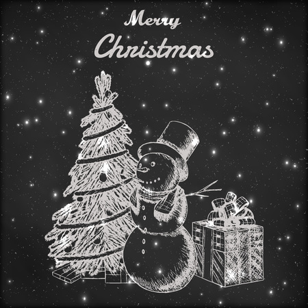 tall hat: Christmas or New year hand drawn vector illustration. Snowman in tall hat, xmas tree and gift box sketch, vintage style. Grunge blackboard background with snow.