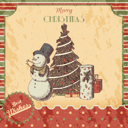 tall hat: Christmas or New year hand drawn colored vector illustration - card, poster. Snowman in tall hat, xmas tree and gift boxes, vintage sketch style. Red, green classic paper background.