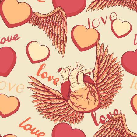 Cartoon style layered vector illustration - cute seamless pattern with winged love and naturalistic heart.