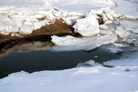 Global warming and climate change the concept because of melting ice. Spring thaw
