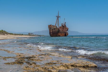 stranded: Dimitrios shipwreck stranded on a beach Stock Photo