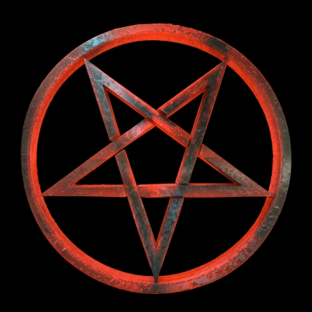 pentagram: A red and amber, translucent, sinister looking inverted pentagram in a circle, made out of volcanic glass, 3d Stock Photo
