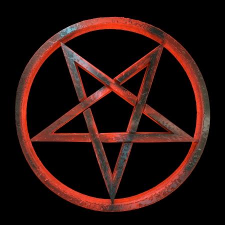 pentacle: Un rosso e ambra, traslucido, sinistro guardando pentagramma invertito in un cerchio, fatto di vetro vulcanico, 3d