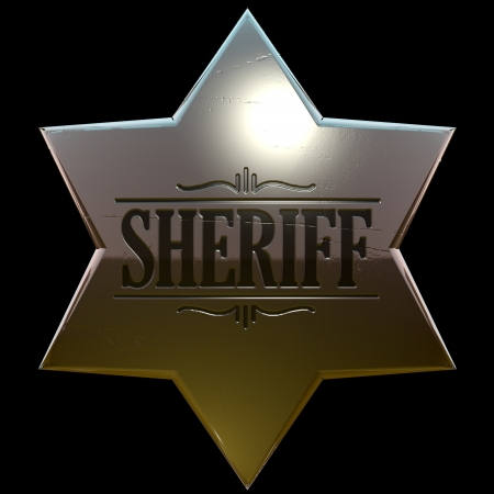 Shiny, slightly used copper or gold sheriff badge 3d Stock Photo - 16802464