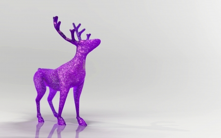 caribou: Glittery purple christmas reindeer decoration in white abstract space 3d