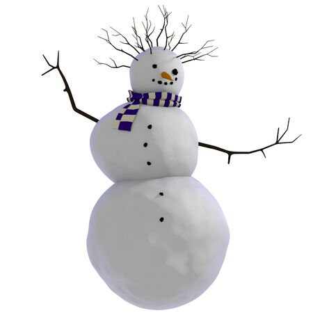 Dancing snowman with purple and white scarf, sticks for hands, carrot for nose, and charcoal for buttons, eyes and smiling mouth and twigs for afro looking haircut Stock Photo - 18315941