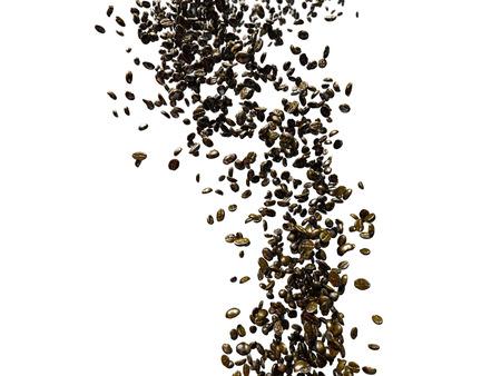 cafe colombiano: 3d rindió la ilustración de muchos granos de café tostado sobre fondo blanco que vuelan o caen en una corriente de aire a través de Foto de archivo