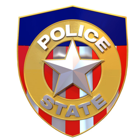 secret society:  satyrical 3d illustration of a police badge that says  police state  instead of  state police  Stock Photo