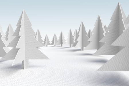 paper cut out:  3d render of a forest landscape made out of white cardboard