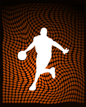 world player: basketball player on the abstract orange background vector