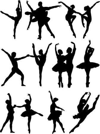 ballet dancers collection 3 vector Vector
