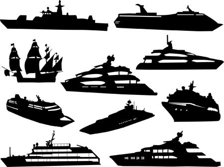 ship collection 3 vector Vector