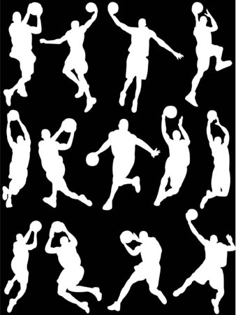 basketball palayers silhouette 2 vector Vector