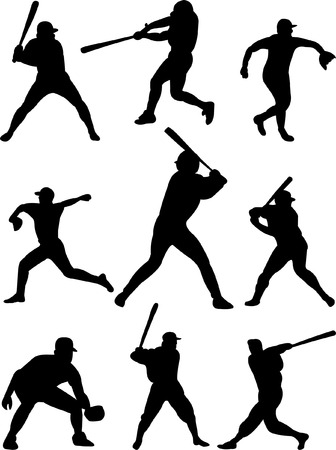 batters: baseball players collection 3 vector Illustration