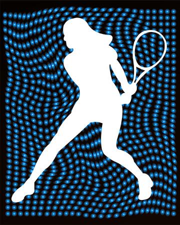 backhand: jugador de tenis silueta en el fondo abstracto - vector