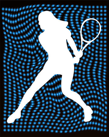 tennis serve: tennis player silhouette on the abstract background - vector