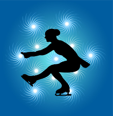 figure skater: ice skating on abstract background - vector Illustration