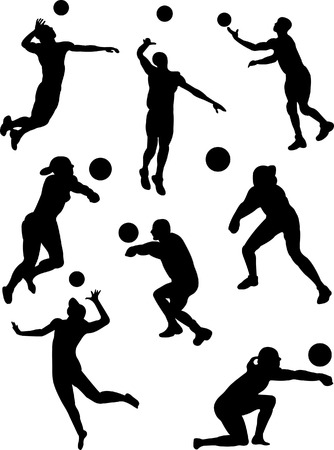 volleybal players collection 3 vector