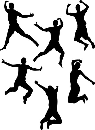 happy people: people jumping silhouettes  Illustration