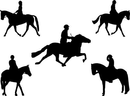 carreras de caballos: colecci�n de jinetes  Vectores