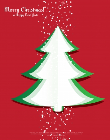 Simple vector christmas tree made from pieces of paper Vector