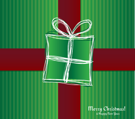 Christmas card - gift box with ribbon  Vector Illustration  Vector
