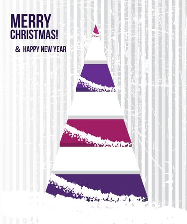 christmas tree purple: Abstract Christmas card with a tree in purple colors.