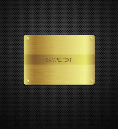 Gold texture plate on metal background  Vector