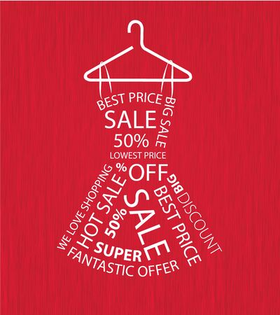 Abstract woman dress from sale words  Vector