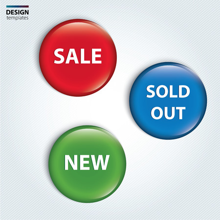 out of order: Set of badge for the new, sold out and discount item