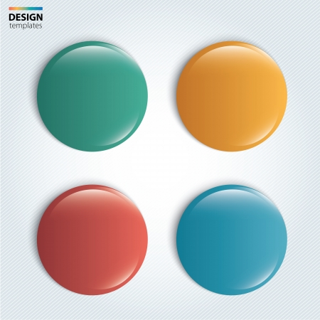 red pin: Four colorful glossy badge  vector Illustration