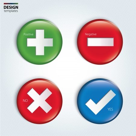 Yes, No, Positive and Negative check buttons. Vector. Illustration