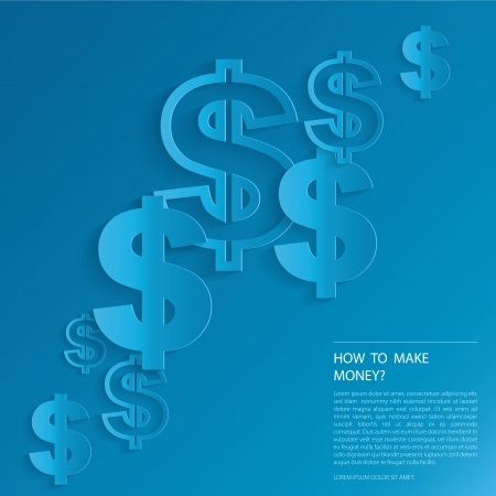 dollar icon: Dollar Signs on blue background.