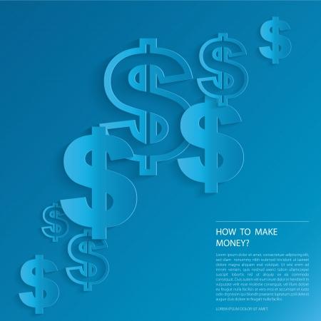 Tekens van de dollar op een blauwe achtergrond. Stock Illustratie