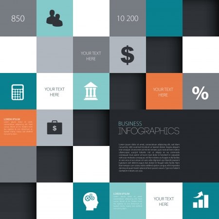 Info graphic squares template  Vector illustration