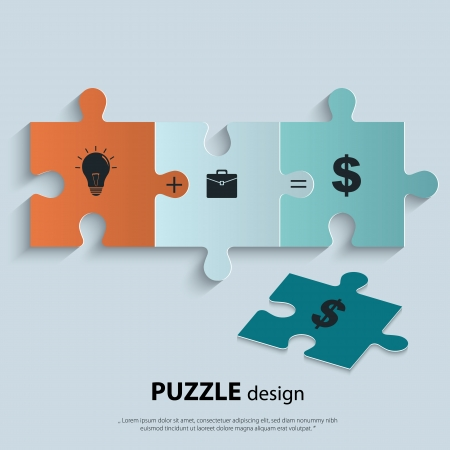 problem solving: Illustration of piece of jigsaw puzzle showing business equation. Illustration