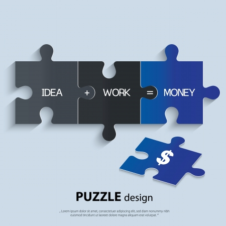 Illustration of piece of jigsaw puzzle showing business equation. Illustration