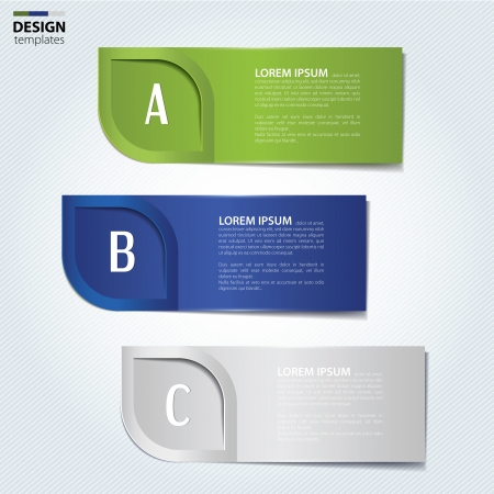Set of paper banners, bookmarks. Modern design template. Illustration