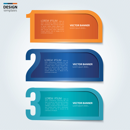Set of numbered paper banners, bookmarks. Modern design template.