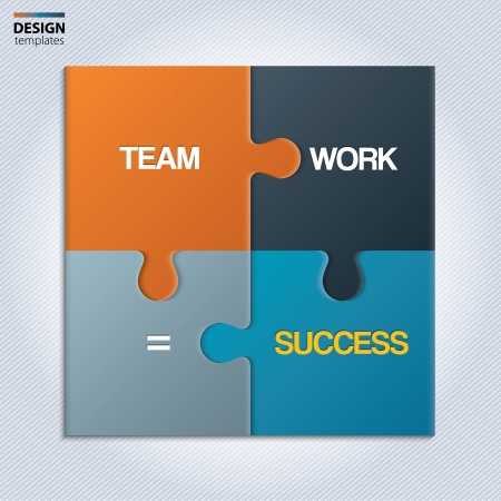 team working together: Illustration of piece of jigsaw puzzle showing business equation. Illustration