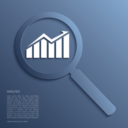 Analysis. Magnifying glass with icon. Vector.