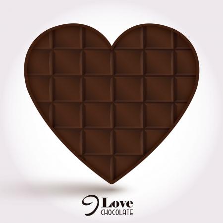 Chocolate heart bar. Vector background.