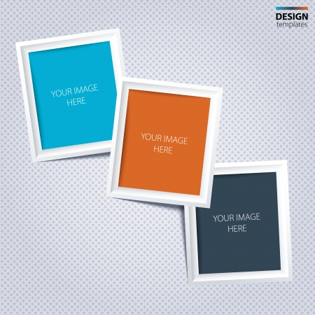 White frames for your photos on the grey background. Vector