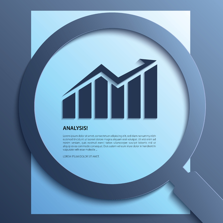 research paper: Analysis. Magnifying glass with graph-up on paper.