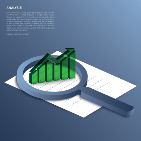Analysis. Magnifying glass with graph-up on paper. Vector. Vector
