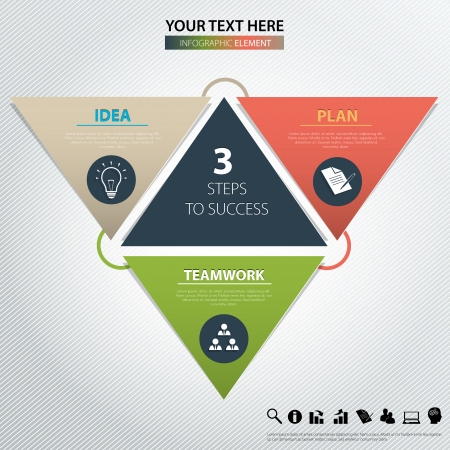 Three steps to success. design element.
