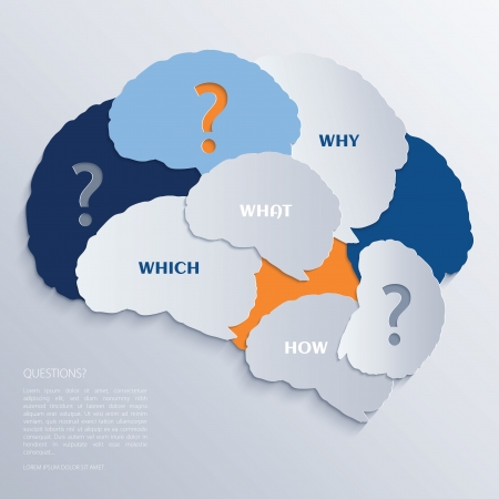 Brain and question marks - Questions Ilustração