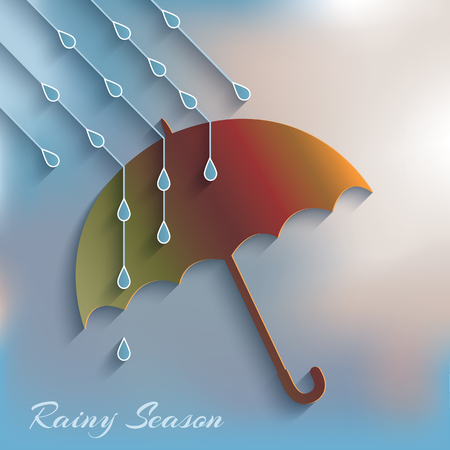 In the rain umbrella  Rainy season  Vector