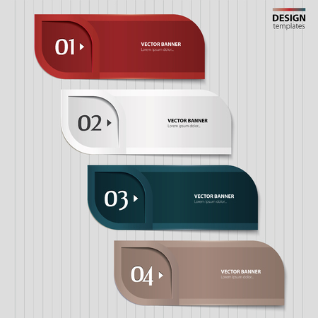 numbered: Set of paper banners, bookmarks  Modern design template
